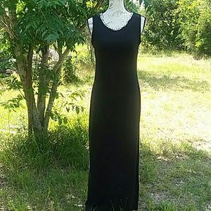NinaLeonard Long Slimming Black Dress Side Slits